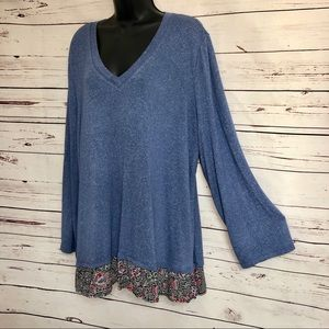 Como Vintage Knit Top Tunic Long Sleeves Plus Size
